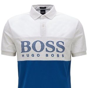 NWT Hugo Boss White/Blue Polo Shirt